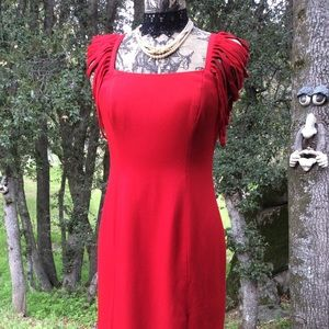 Vintage Rayon Lady RED Sheath Dress Unique Sleeves